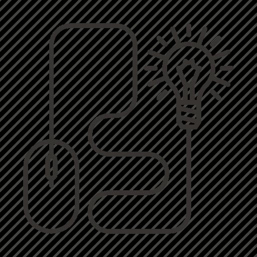 bulb, device, idea, mouse icon