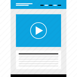 mockup, music, play, video, website, wireframe icon