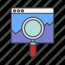 magnifier, page, seo, web icon icon