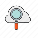 cloud, magnifier, seo, tool, web icon icon