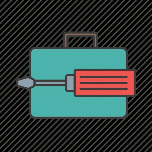 case, portfolio, screwdriver, seo, web icon icon