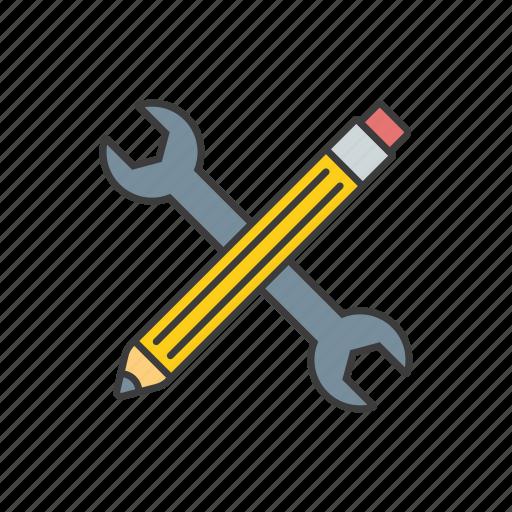 key, pen, seo, web, wrench icon icon