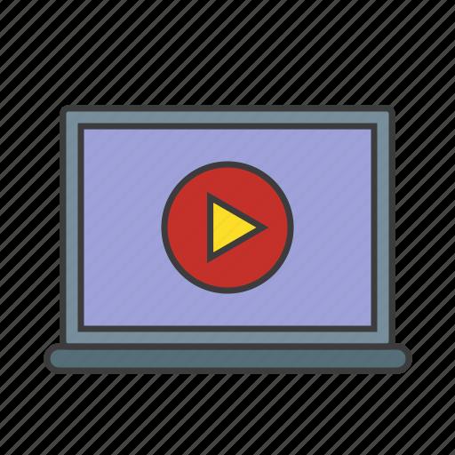 optimization, play, screen, seo, video, web icon icon