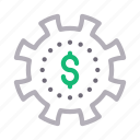 cogwheel, dollar, gear, marketing, seo
