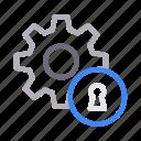 gear, key, lock, marketing, seo icon
