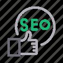 feedback, likes, marketing, seo, thumbups icon