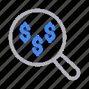 dollar, marketing, money, search, seo icon