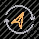 marker, navigation, refresh, reload, send icon
