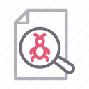document, file, malware, search, virus icon