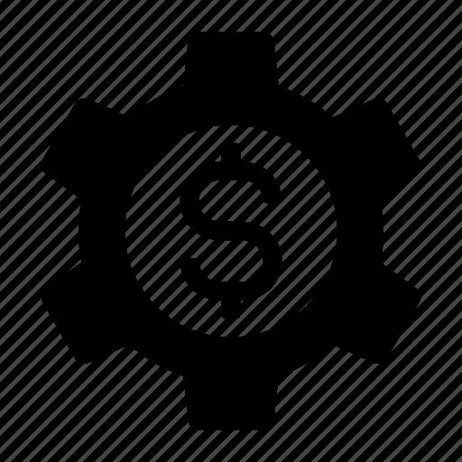 budget, business, dollar, gear, mechanism, money, settings icon