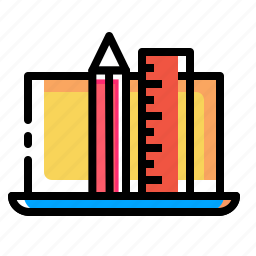 design, device, drawing, laptop, pencil, ruler icon