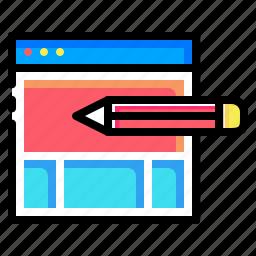 design, edit, pen, pencil, seo, web, window icon