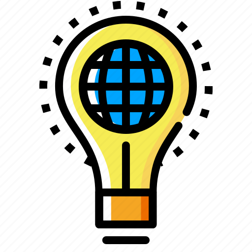 bulb, idea, imagination, innovation, lamp, light, world icon