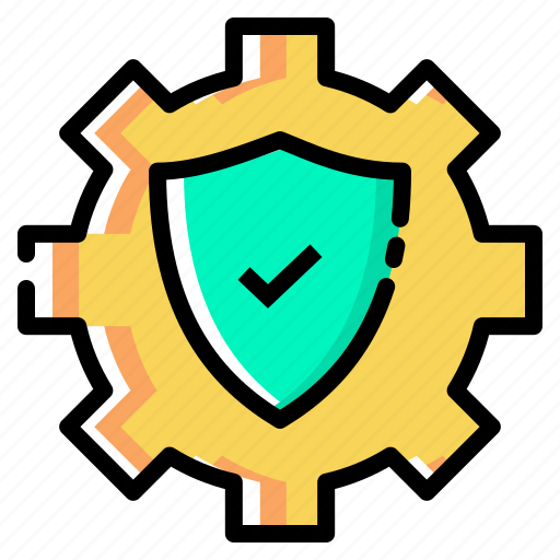 gear, protect, secure, setting, settings, shield icon