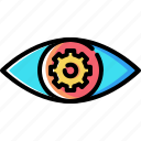 eye, gear, mission, preferences, settings, view, vision