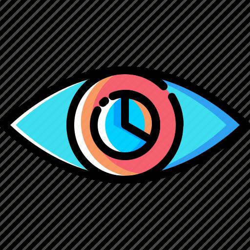 eye, internet, mission, piechart, search, vision, web icon