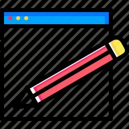 copyright, edit, pencil, seo, tools, webpage, website icon
