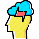 cloud, ides, innovation, man, mind, person, power icon