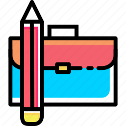 bag, briefcase, carry, folder, office, pencil, stationary icon