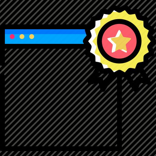 award, badge, bookmark, favorite, seo, star, web icon