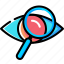 eye, glass, magnifier, mission, search, view, vision