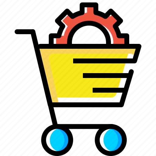 cart, ecommerce, online, services, settings, shopping, solution icon