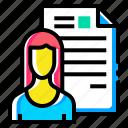 avatar, document, employee, lady, resume, shortlisted, woman