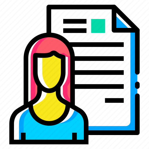 avatar, document, employee, lady, resume, shortlisted, woman icon