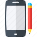 development, mobile, pencil, device