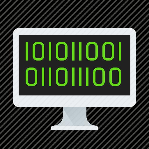 binary, code, monitor, screen icon