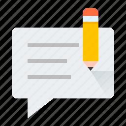 blog, bubble, edit, pencil icon