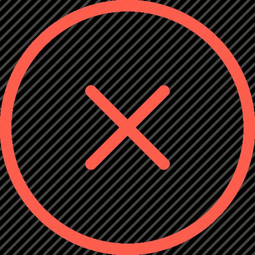 blocked, cross, denied, line, thin, web, wrong icon