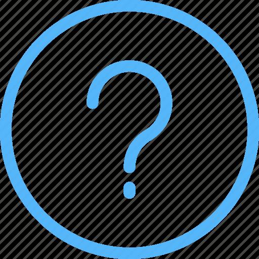 faq, info, line, mark, question, thin, web icon