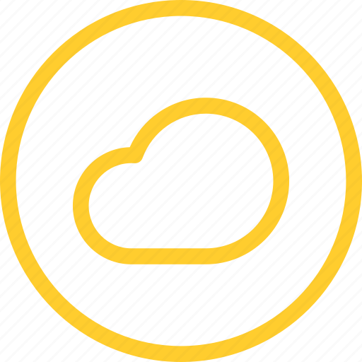 archive, cloud, data, line, storage, thin, web icon