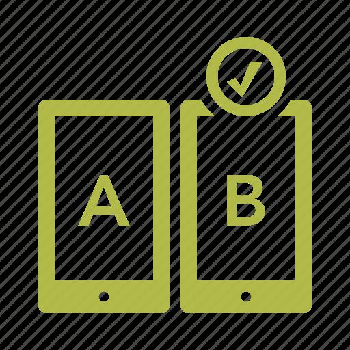 ab testing, compare, feedback, tablet icon