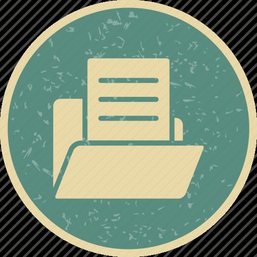 document, document in folder, folder icon