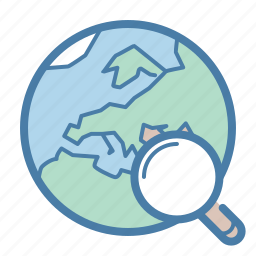 earth, globe, magnifier, search, search engine, seo, world icon