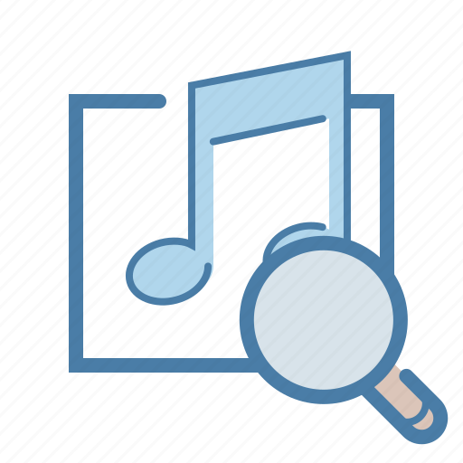 audio search, content management, magnifying glass, media, music, note, sound icon