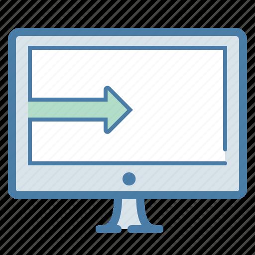 computer, download, guardar, monitor, pc, save, screen, send to desktop icon