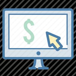 arrow, banking, check balances, click, dollar, ecommerce, online shopping icon