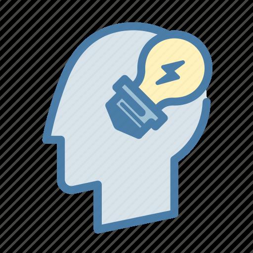 head, idea, light bulb, thinking icon
