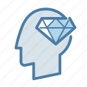 brain, brilliant, diamond, head, mind, sharp, smart icon