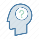 confusion, doubt, frustration, head, question icon