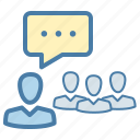 communication, conference, conversation, discuss, meeting, speech, training icon