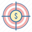 goal, investment, money, target icon