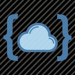 brackets, cloud, code, data storage, programming, share, sharing icon
