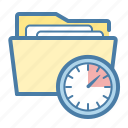 clock, documents, folder, project icon