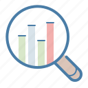 analysis, analytics, diagram, magnifying glass, research, search, statistics report icon