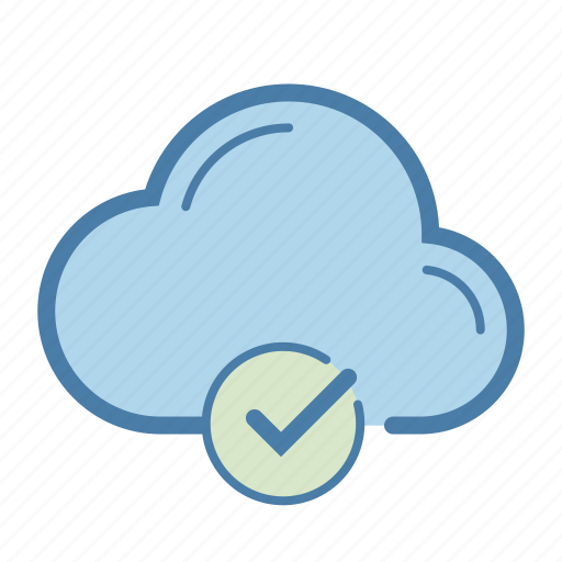 checkmark, cloud, done, network, sharing, sync, update icon