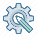 artistic, creative, custom design, gear, optimization, pencil, settings icon